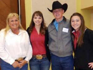 CCW president Tammie McElroy,  2014 National Beef Ambassador Emma Morris,  Junior Beef Ambassador Shane Stubblefield, Kern Co. and reserve Danielle Mueller, Tehama Co.